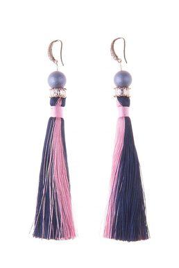 Серьги-кисти «Шелест шелка» (розовый, синий)