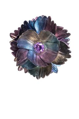 Брошь- кулон «Волшебный сад Феи» (фиолетовый, зеленый, синий. золотой)